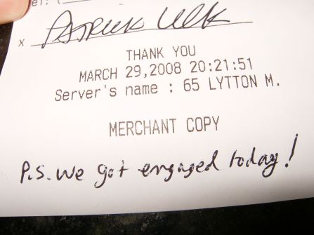 Engagement dinner receipt